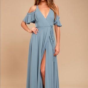 Easy Listening Slate Blue Cold Shoulder Wrap Dress